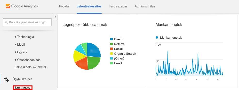 Képernyőfotó a Google Analytics ügyfélszerzés füléről