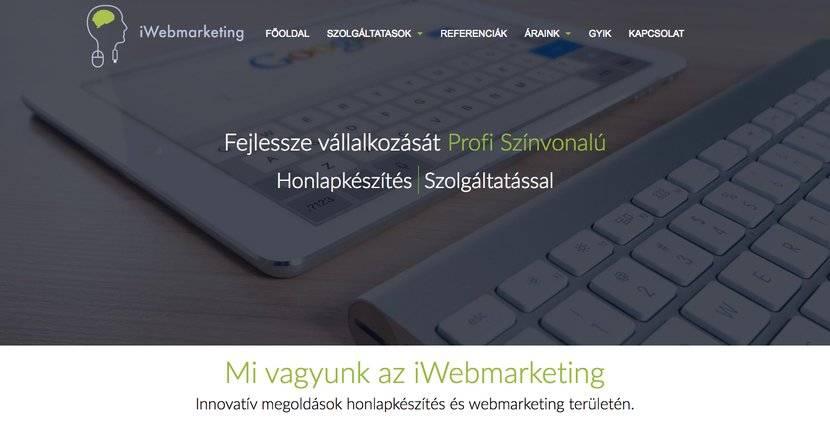 iWebmarketing ügynökség nyitóoldala