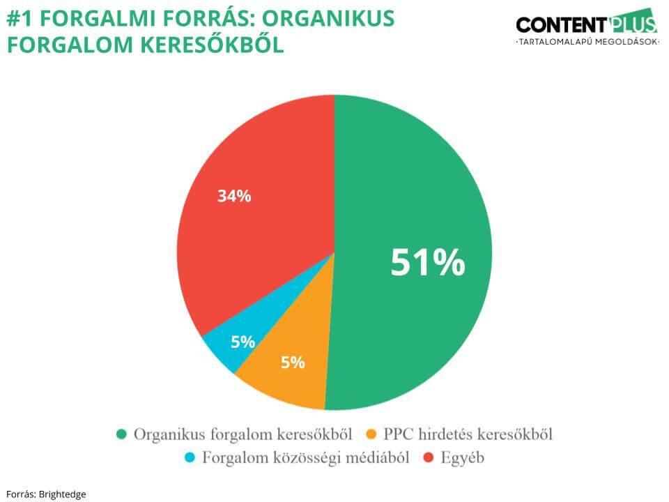 Grafikon, mely mutatja, hogy egy weboldalra érkező forgalom 51%-a a keresőkből érkezik