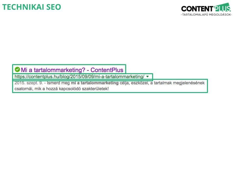 Tiitle tag, meta description és URL megjelenése a Google keresőjében