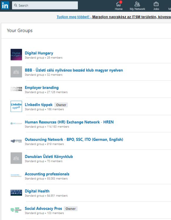Linkedin csoportlistáról képernyőkép