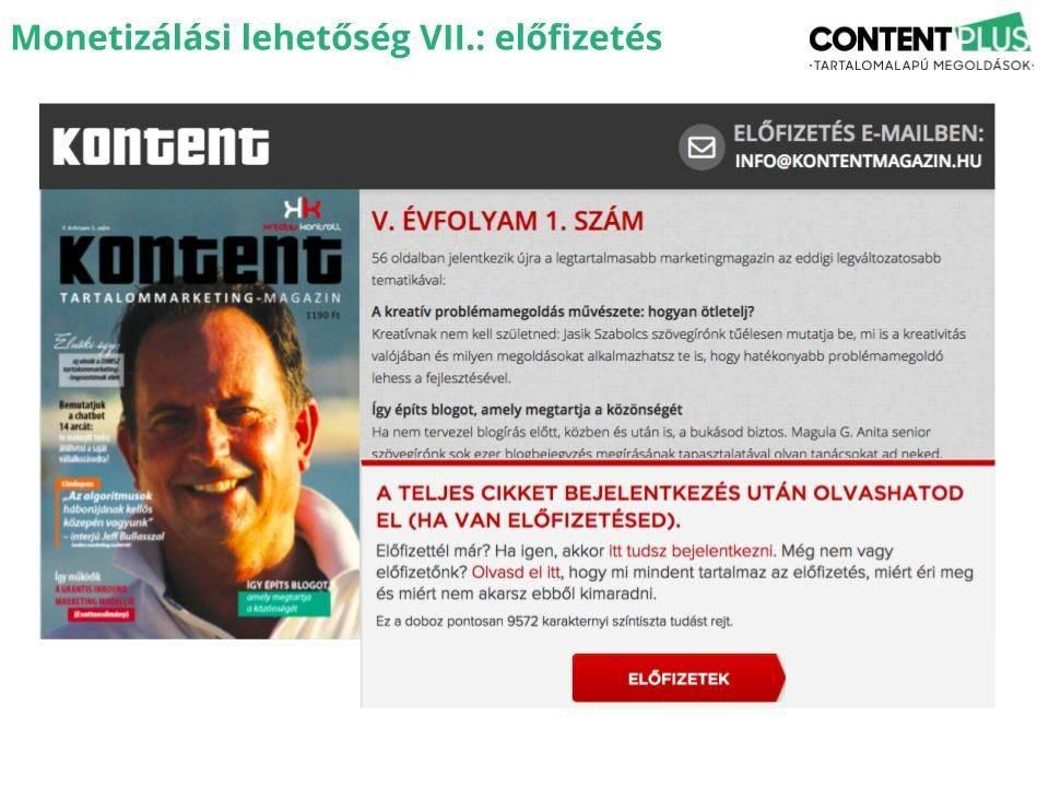 Kontent magazin címlap és online előfizetéses oldalra példa