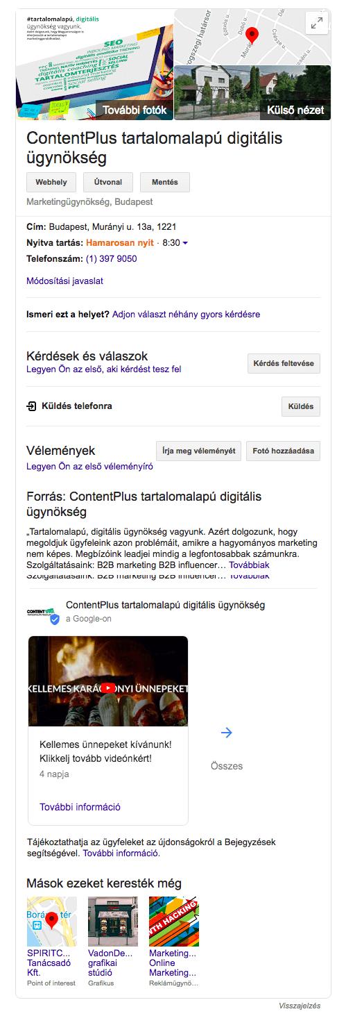 Google Cégem megjelenése Google találati oldalon