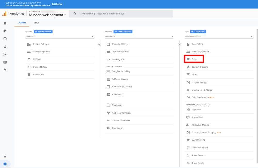 Google Analytics admin felülete