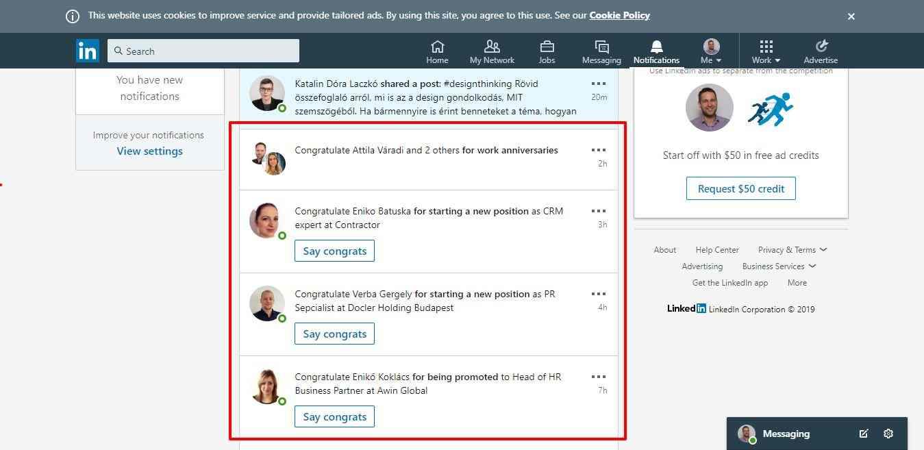 Linkedin notifications - Bodnár Ákos