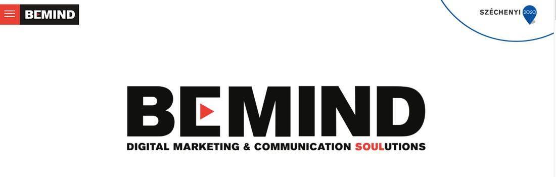 Digitális marketing és kommunikációs megoldások felirat a Bemind nyitóoldalán