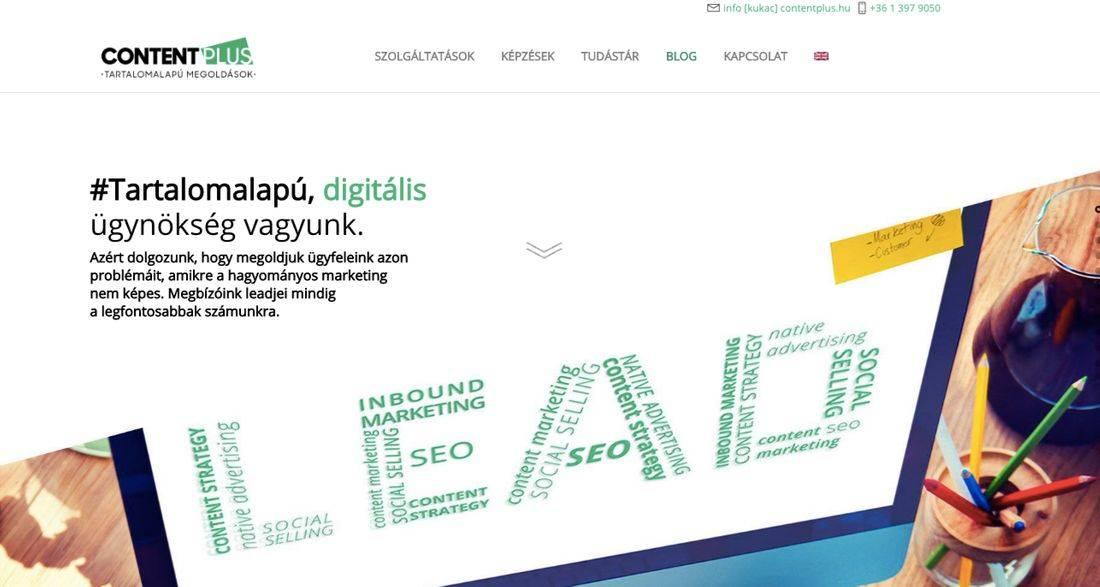Lead feliratú monitor mellette a tartalomalapú digitális ügynökség vagyunk felirat