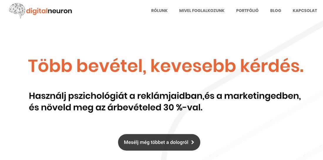 Digitalneuron marketingügynökség nyitóoldalén található felirat