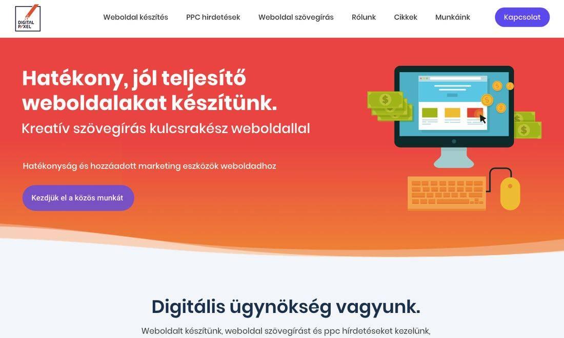 Hatékony jól teljesítő weboldalakat készítünk felirat a Digitlpixel nyitóképén
