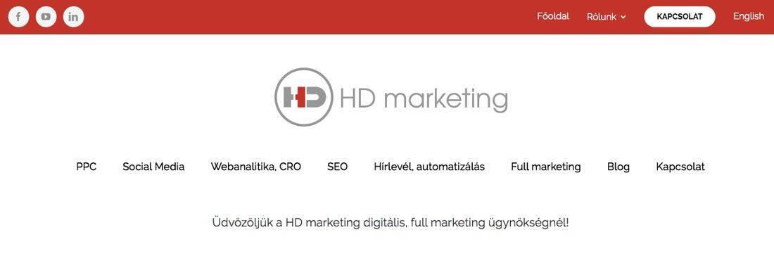 Üdvözöljük a HD marketing digitális, full marketing ügynökségnél! feliratú nyitókép