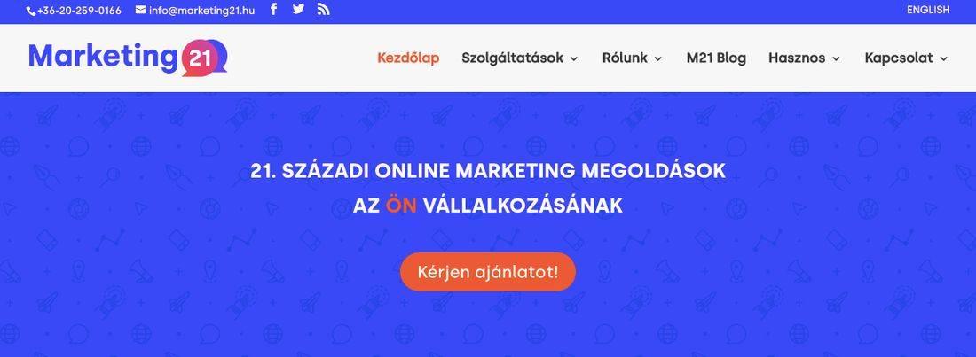 21. századi online marketingmegoldások felirat a Marketing21 nyitóoldalán