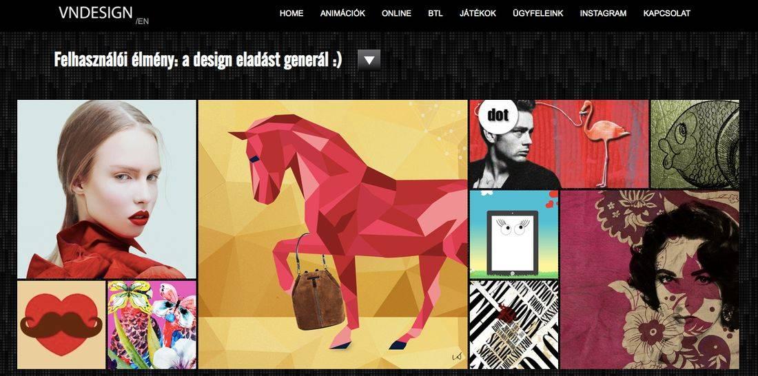 Felhasználói élmény: a design eladást generál felirat a VNDesign nyitóoldalán