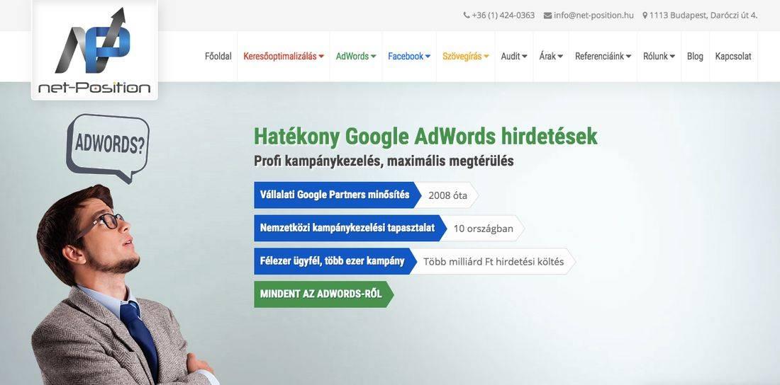 net-Position keresőmarketing-ügynökség nyitóképének felirata