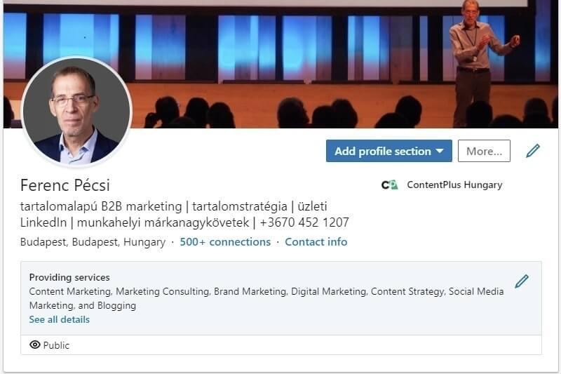 LinkedIn képernyőfotó: személyes profil