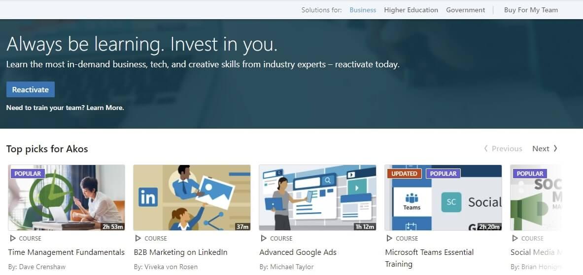 Linkedin Learning nyitóoldala